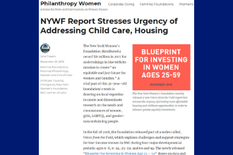 NYWF Report Stresses Urgency of Addressing Child Care, Housing